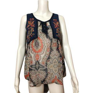 Miss Me Heavy Embroidery Imari Pattern Top